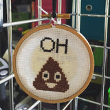 Oh Poop Emoji Funny Cross Stitch Pattern Download Beginner