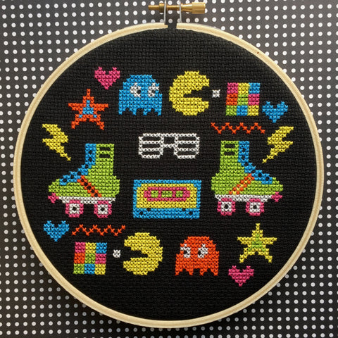80's Sampler Counted Cross Stitch Pattern DOWNLOAD Intermediate
