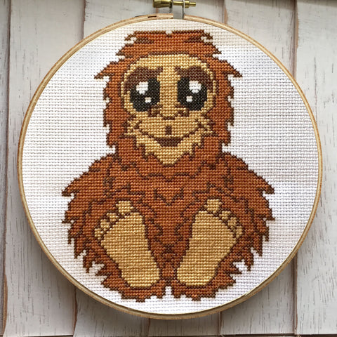 Bigfoot Sasquatch Counted Cross Stitch Pattern DIGITAL Download Intermediate