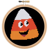 Happy Candy Corn HALLOWEEN Cross Stitch Pattern DOWNLOAD Intermediate