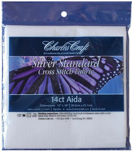 "White Cross Stitch Fabric - Aida 14 Count 12""X18"""
