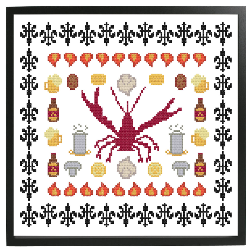 New Orleans Crawfish Boil Sampler Cross Stitch DOWNLOAD Pattern and Instructions