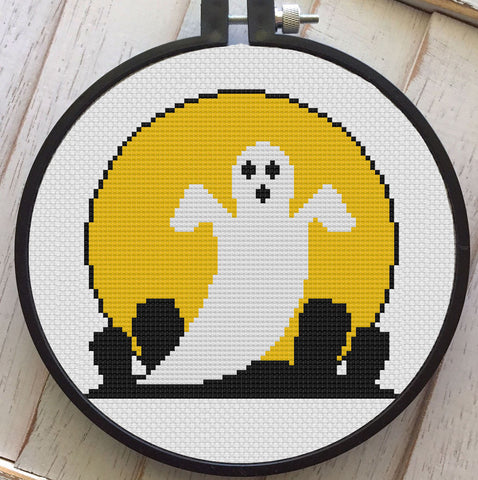 Vintage Halloween Ghost Cemetery Counted Cross Stitch Pattern Download Intermediate