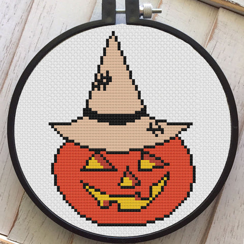 Vintage Halloween Pumpkin Counted Cross Stitch DIY KIT Intermediate