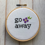 Go Away Floral Foul Cross Stitch Pattern DIGITAL DOWNLOAD Beginner
