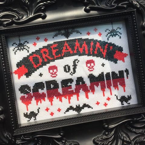 Dreamin' of Screamin' Halloween Counted Cross Stitch Pattern DOWNLOAD Intermediate