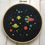Outer Space Aliens Spaceship Counted Cross Stitch PATTERN DIGITAL DOWNLOAD Beginner