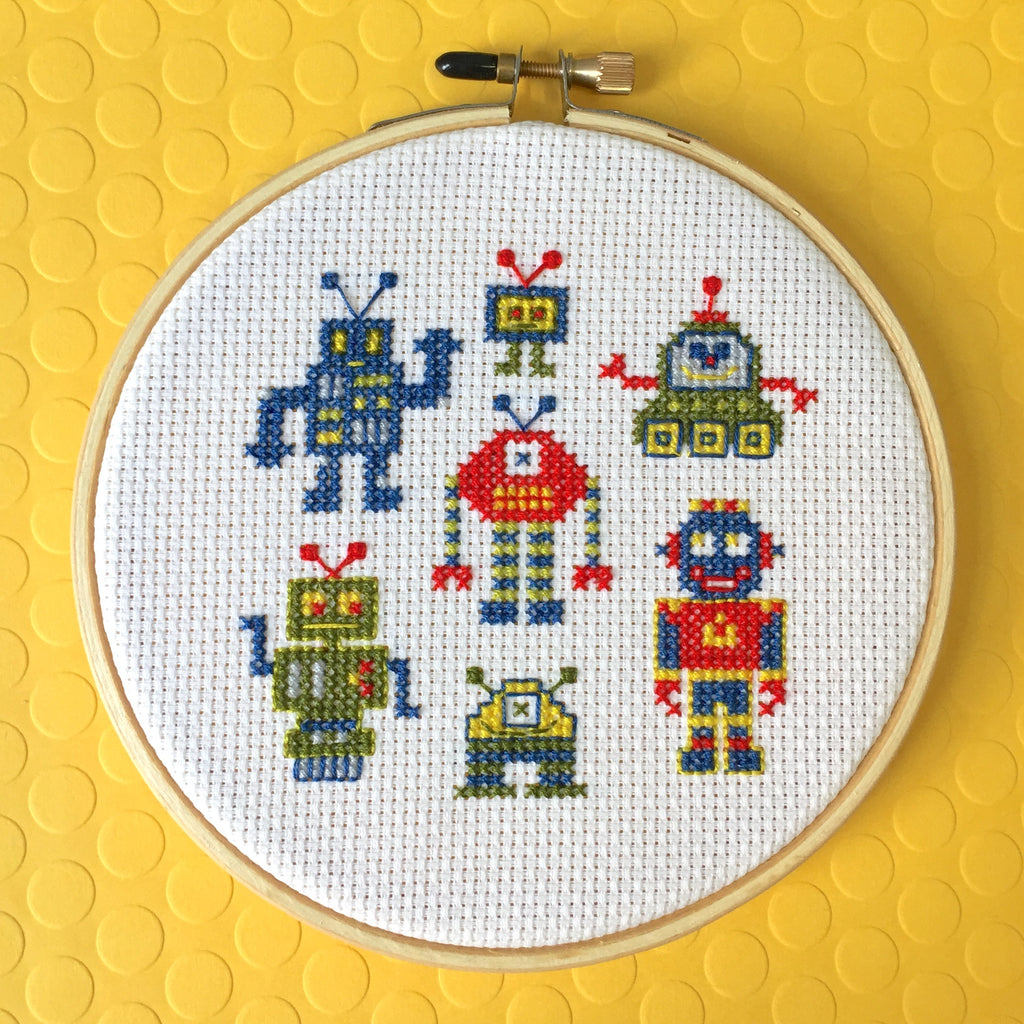Robot Counted Cross Stitch DIY KIT