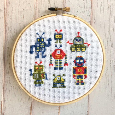 Robots Counted Cross Stitch Pattern DOWNLOAD