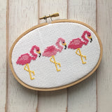 Pink Flamingo Trio Bird Counted Cross Stitch DIY KIT Beginner