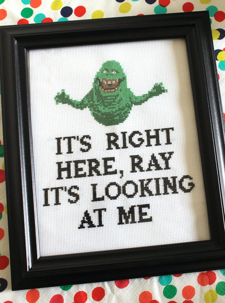 ghostbusters slimer cross stitch art