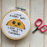 Taco Tuesday Counted Cross Stitch DIY KIT