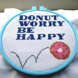 Donut Worry Be Happy Counted Cross Stitch DIY Kit with Supplies and Pattern