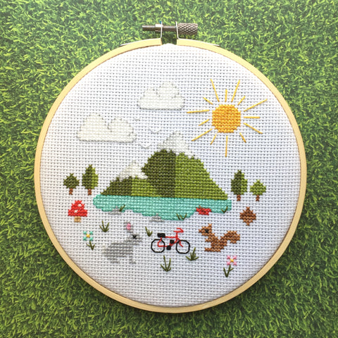 Great Outdoors Cross Stitch 6 inch Pattern DOWNLOAD