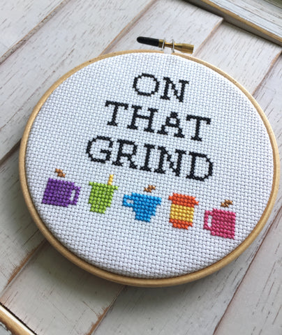 On That Grind Coffee Counted Cross Stitch DIY KIT Intermediate