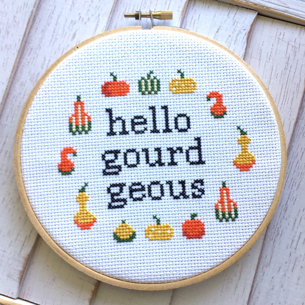 Hello Gourdgeous Counted Cross Stitch DIY KIT Intermediate