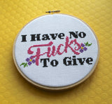 I Have No F*cks To Give Counted Cross Stitch DIY KIT Intermediate