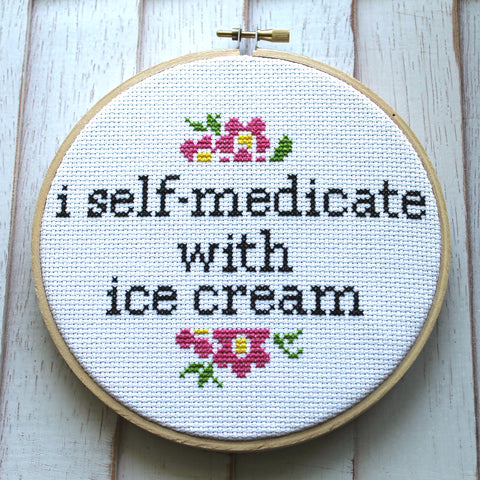 I Self-Medicate With Ice Cream Counted Cross Stitch DIY KIT Intermediate