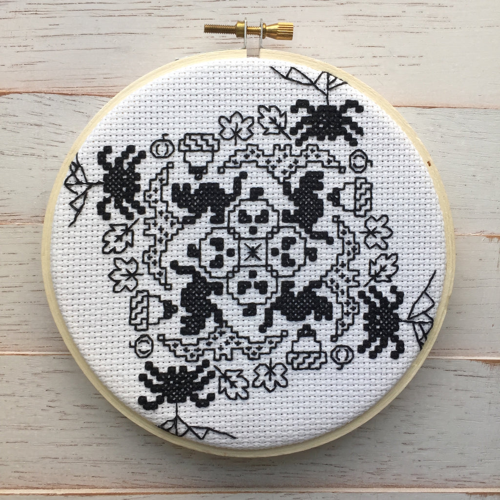Blackwork Halloween Counted Cross Stitch Pattern DOWNLOAD