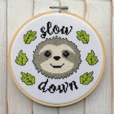 Slow Down Counted Cross Stitch DIY KIT