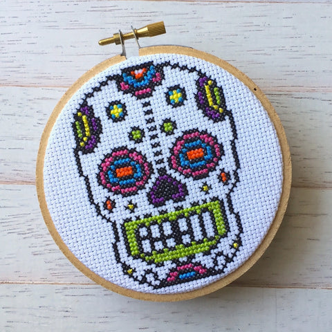 Sugar Skull Day of the Dead Skeleton Bright Counted Cross Stitch DIY KIT Intermediate