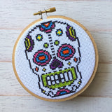 Sugar Skull Day of the Dead Skeleton Bright Cross Stitch Pattern DOWNLOAD Intermediate
