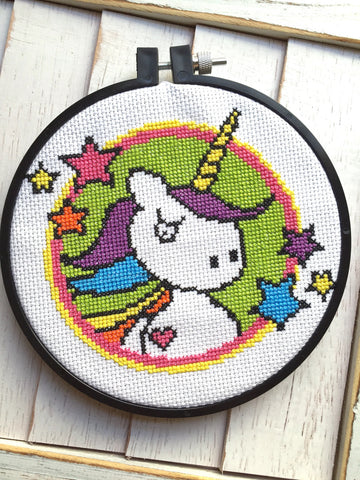 Badass Unicorn Bright Counted Cross Stitch DIY KIT Intermediate