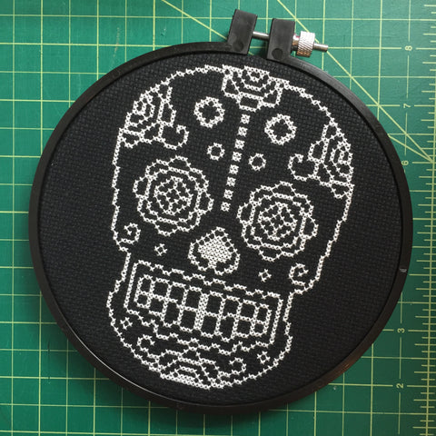 Sugar Skull Day of the Dead Skeleton White and Black Cross Stitch DIY KIT Intermediate