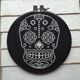 Sugar Skull Day of the Dead Skeleton White and Black Cross Stitch Pattern DOWNLOAD Intermediate