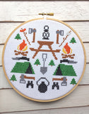 Camping Tool Sampler Cross Stitch 6 inch Double Pattern DOWNLOAD Intermediate