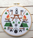 Camping Tool Sampler Cross Stitch 6 inch Pattern DOWNLOAD Intermediate