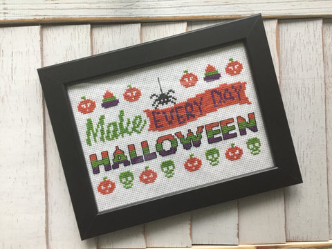 Make Everyday Halloween Counted Cross Stitch Pattern Download Intermediate