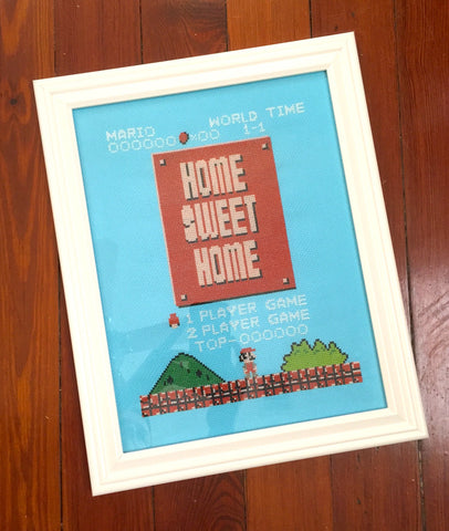 super mario home sweet home cross stitch art