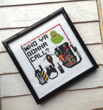 Ghostbusters Inspired Who Ya Gonna Call Slimer Film Movie Cross Stitch DIY KIT Intermediate