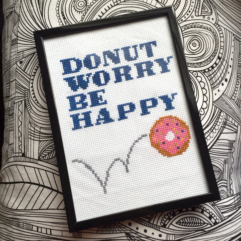 Donut Worry Be Happy Cross Stitch DOWNLOAD Pattern and Instructions