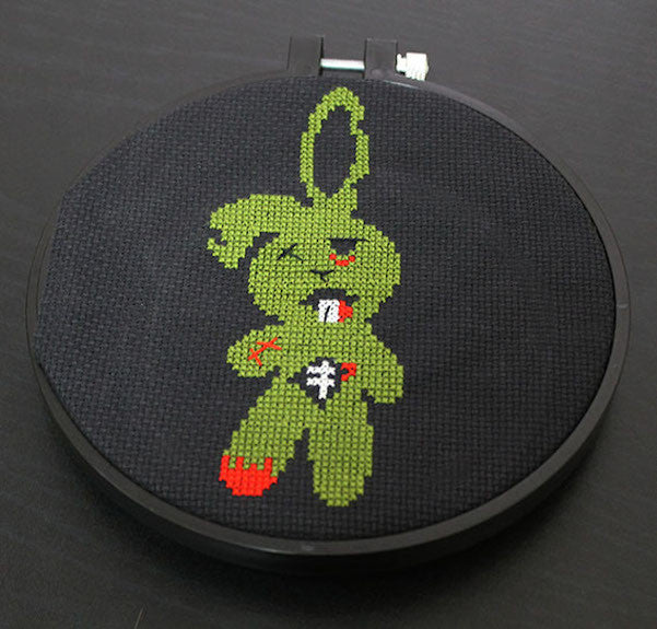 Zombie Bunny Cross Stitch DOWNLOAD Pattern and Instructions