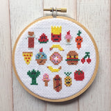 Snack Attack Food Cross Stitch PATTERN DOWNLOAD Needlework Embroidery Beginner