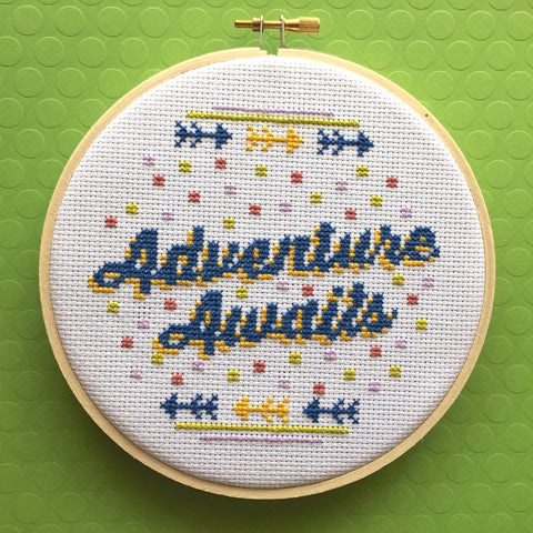 Adventure Awaits Counted Cross Stitch DIY KIT Intermediate