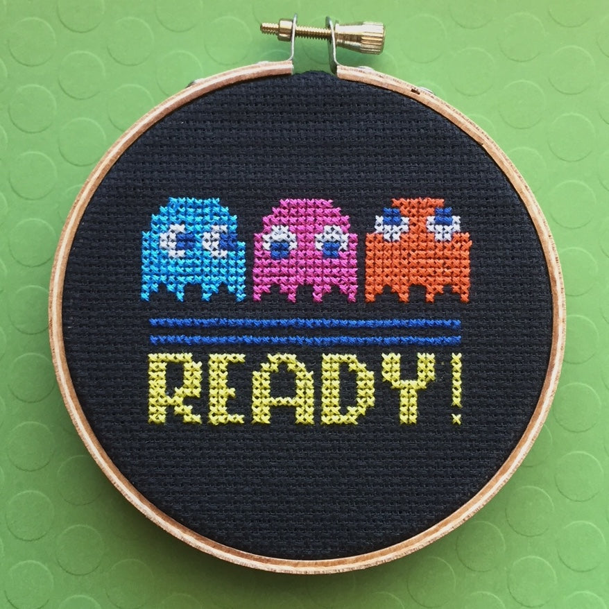 Pac Man Game Counted Cross Stitch DIY KIT Beginner