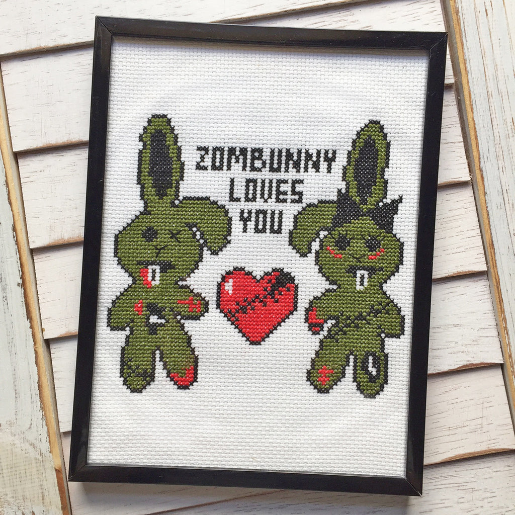Zombunny Loves You Zombie Bunny Rabbit Counted Cross Stitch DIY KIT Intermediate