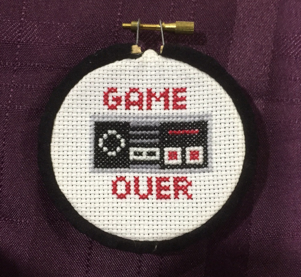 Game Over Controller Cross Stitch DOWNLOAD Pattern and Instructions