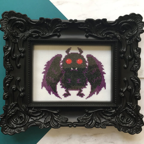 Mothman Counted Cross Stitch DIGITAL DOWNLOAD Pattern Intermediate