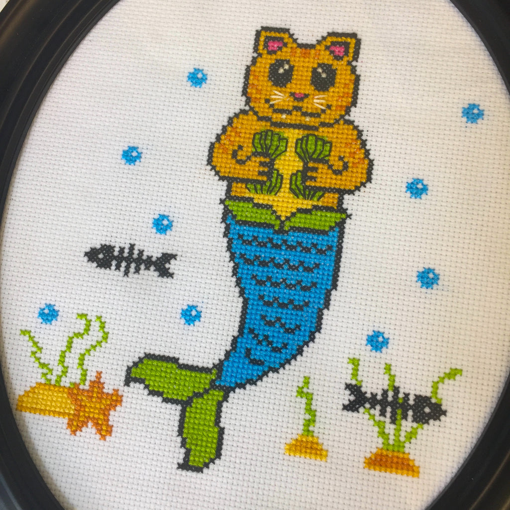 Purrmaid Counted Cross Stitch DIY KIT Intermediate