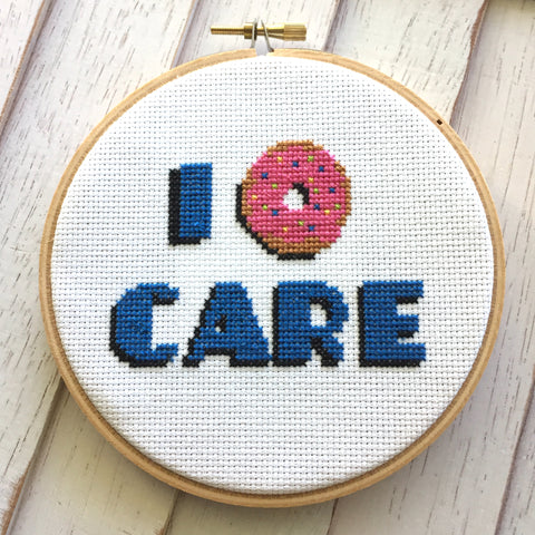 I Donut Care Doughnut Cross Stitch DIY KIT Intermediate 5""