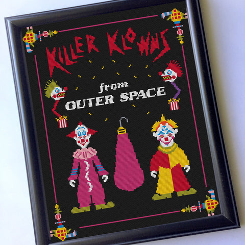 Killer Klowns From Outer Space 11 x 14 Film Movie Counted Cross Stitch DIY KIT Intermediate