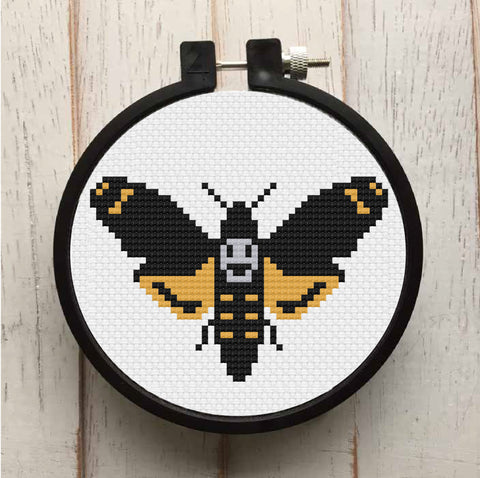 Deadhead Moth Counted Cross Stitch DIY KIT Beginner