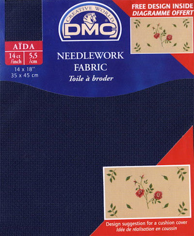 "DMC Aida Needlework Fabric 14 Count 14""X18"" - Navy Blue"