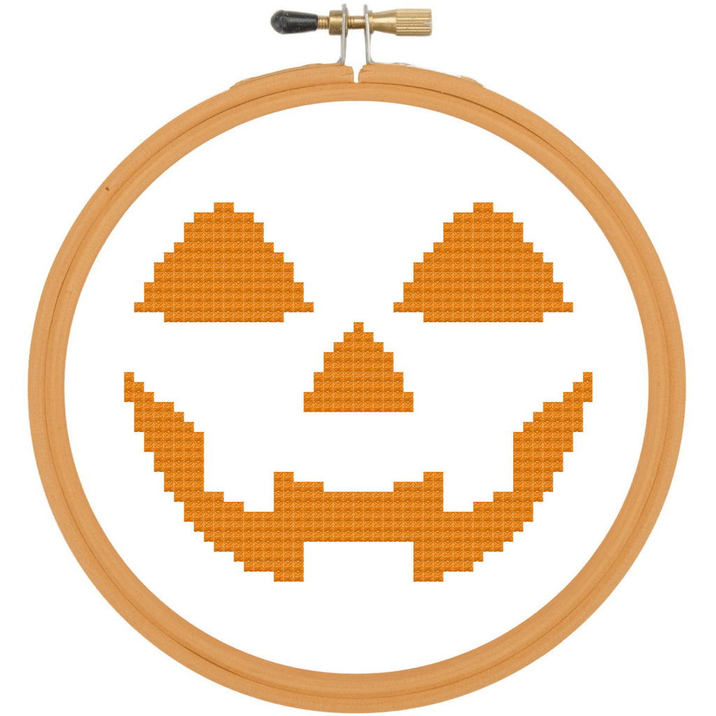 Pumpkin Face HALLOWEEN Cross Stitch Pattern DOWNLOAD Beginner