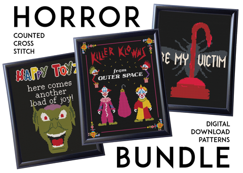 HORROR BUNDLE Film Movie Counted Cross Stitch Pattern Download Intermediate