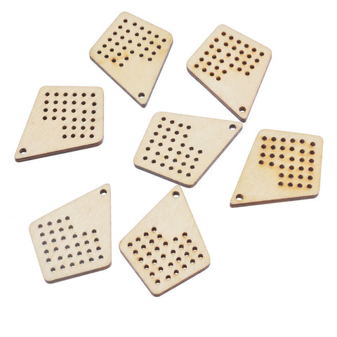 10PCs Natural Multi-hole Wood Charm Pendant For Counted Cross Stitch Kit